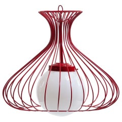 Red Wire Cage Sculptural Pendant Light Fixture, circa 1960