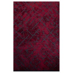 Red with Navy Contemporary Abstract Pattern Luxury Soft Semi-Plush Rug