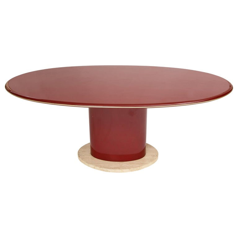 Red Wood Lacquer Dining Table, Desk, Travertine Base and Gold Trim, 1980s France For Sale