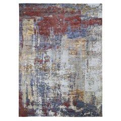 Red Wool and Silk Hi-Low Pile Modern Abstract Design Hand Knotted Oriental Rug