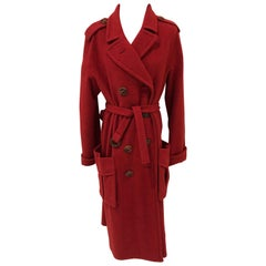 Red Wool Sonia Rykiel Trench Style Coat Size 44