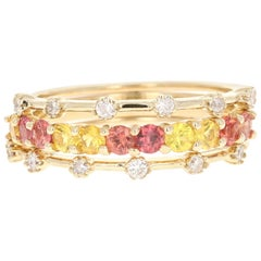 1.14 Carat Red and Yellow Sapphire Diamond 14 Karat Yellow Gold Stackable Bands