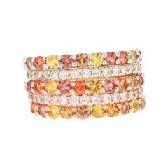 2.78 Carat Red Yellow Sapphire Diamond 14 Karat Yellow Rose Gold Stackable Bands