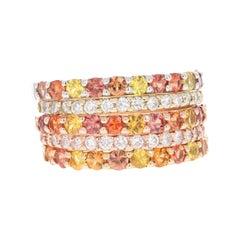 Red Yellow Sapphire Diamond 14 Karat Yellow Rose Gold Stackable Bands