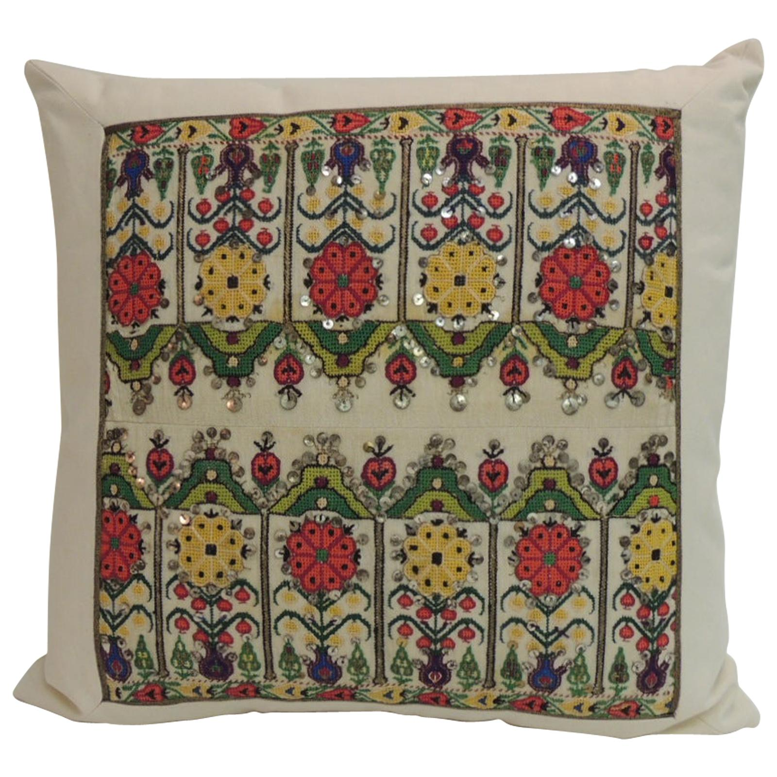 Petite Red and Yellow Turkish Colorful Embroidery Square Decorative Pillow