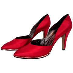 Red Yves Saint Laurent Silk Heels Embroidered with Swarovski