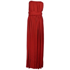 Red Yves Saint Laurent Strapless Ruched Gown