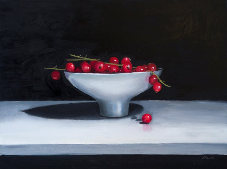 English Redcurrents in a Ceramic Bowl, Still Life Oil Painting For Sale
