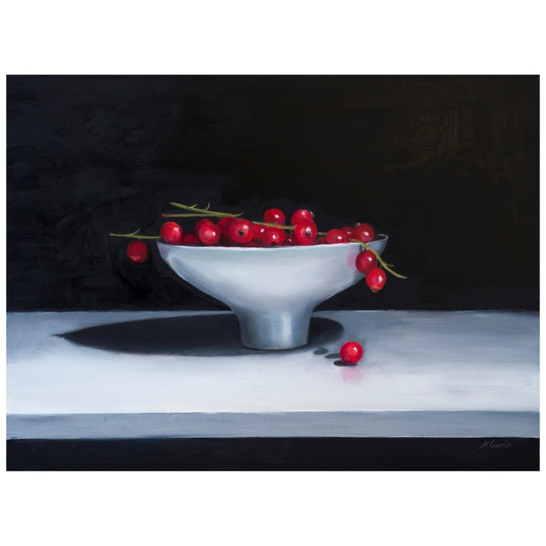 Redcurrents in a Ceramic Bowl, Still Life Oil Painting For Sale
