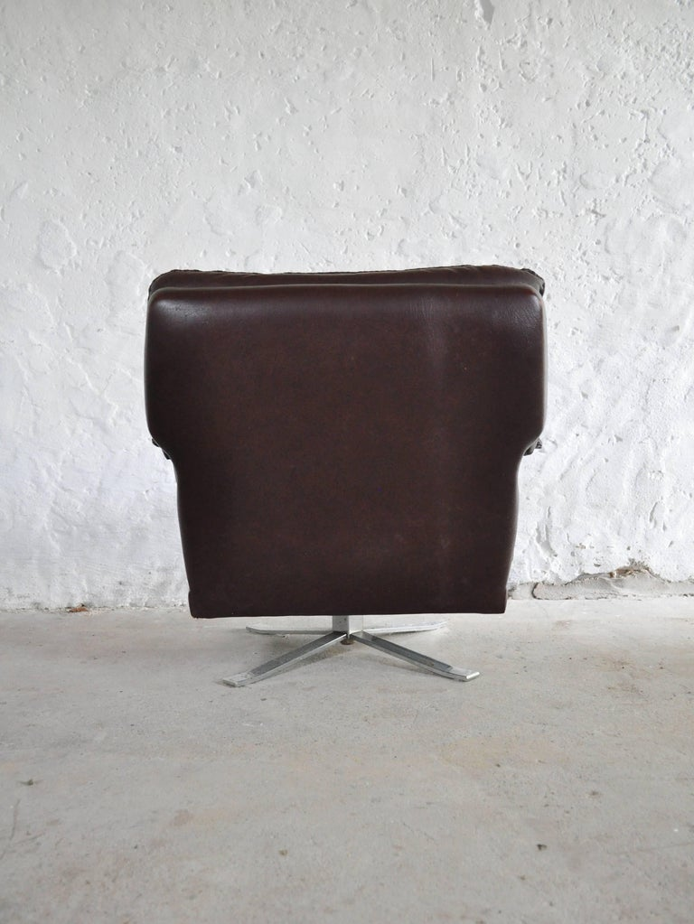 Reddish Brown Leather and Chrome Lounge Chair and Stool by Arne Norell For Sale 4