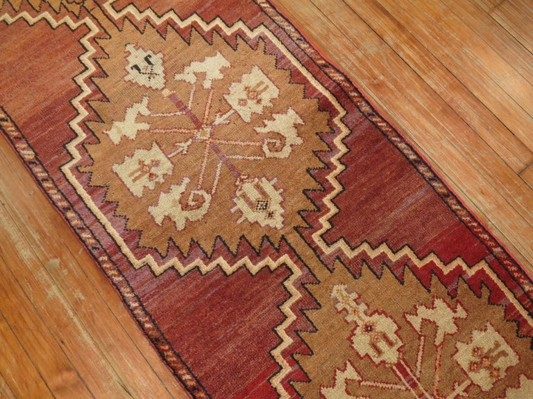 Hand-Knotted Reddish Brown Vintage Anatolian Runner For Sale