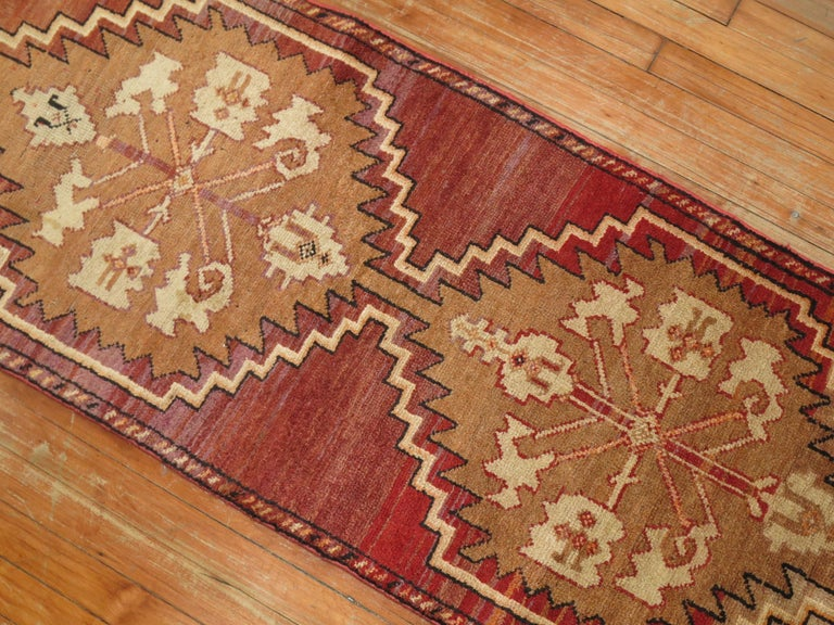 20th Century Reddish Brown Vintage Anatolian Runner For Sale