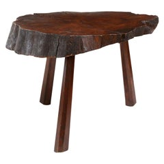 Reddish-Brown Vintage Tree Trunk Table