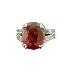 Reddish Orange 8.21 Carat No Heat Sapphire and Diamond Ring in Platinum