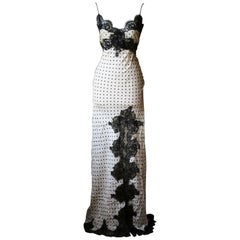 Redemption Polka-Dot Satin and Lace Maxi Dress