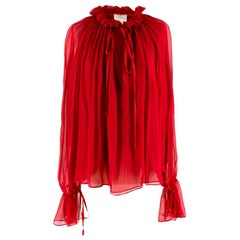 Redemption Red Silk Chiffon Blouse - Size US 6