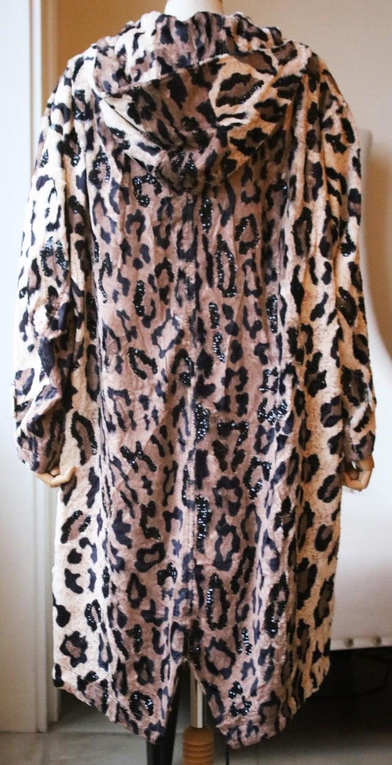 Black Redemption Sequin-Embellished Leopard-Print Faux-Fur Parka For Sale