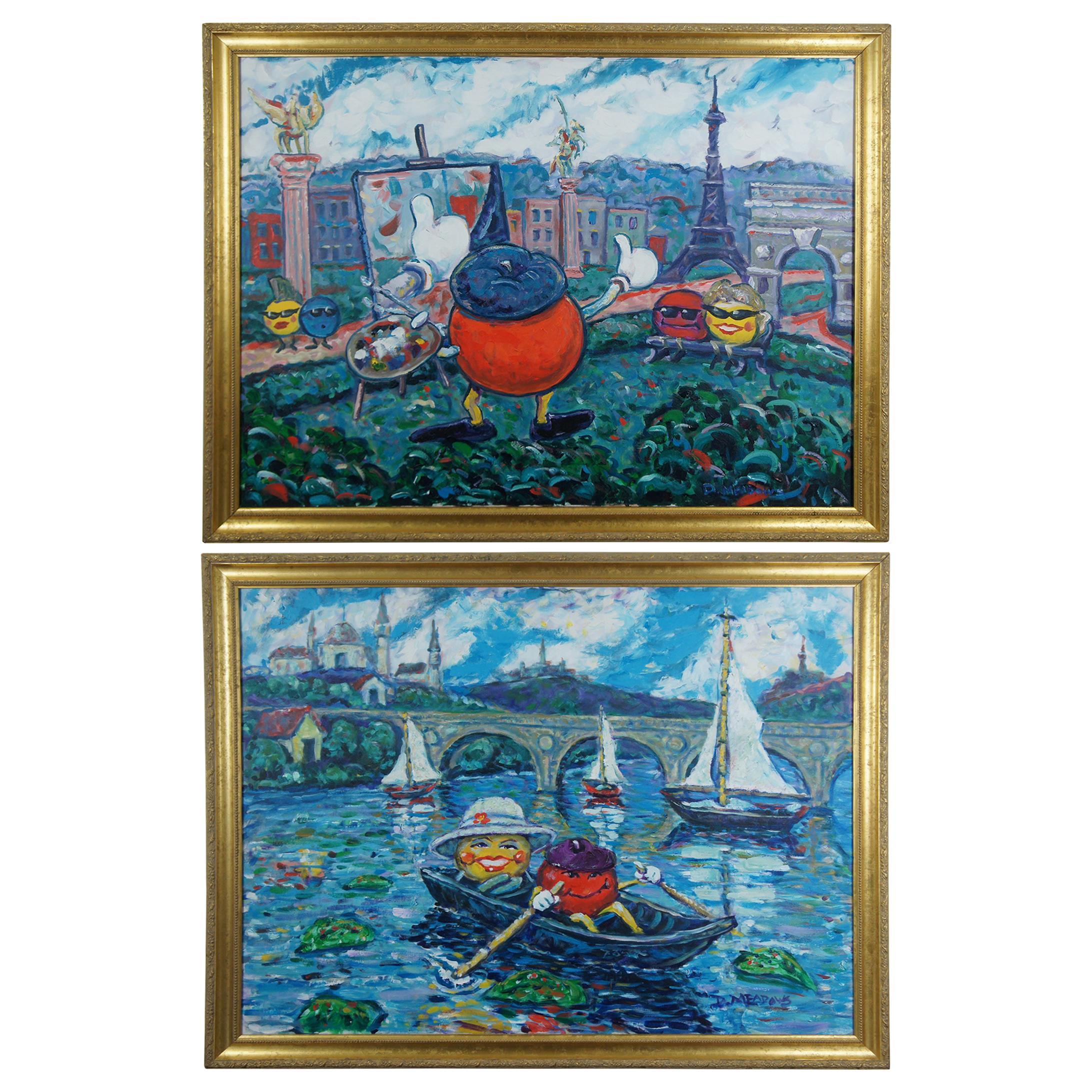 Redman & Lady Dot D. Meadows Impressionist Landscapes Paintings Paris Romantic