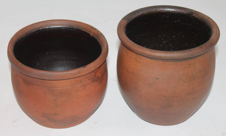Other Redware Pennsylvania 19th Century Crocks, Two Pieces For Sale