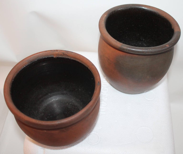 Hand-Crafted Redware Pennsylvania 19th Century Crocks, Two Pieces For Sale