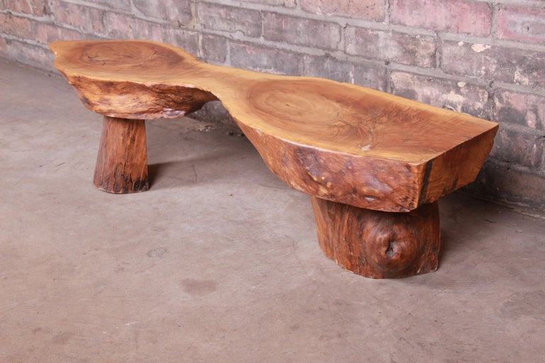 Wood Redwood Rustic Live Edge Low Coffee Table or Occasional Side Table For Sale