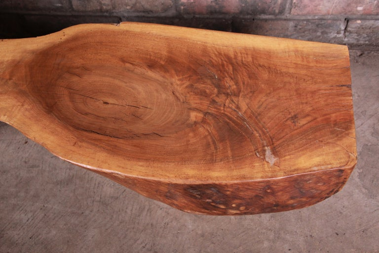 Redwood Rustic Live Edge Low Coffee Table or Occasional Side Table For Sale 1