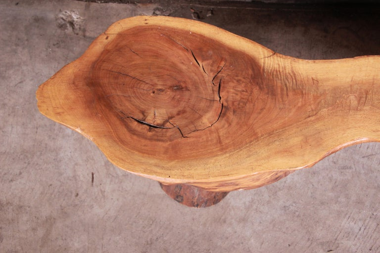Redwood Rustic Live Edge Low Coffee Table or Occasional Side Table For Sale 2