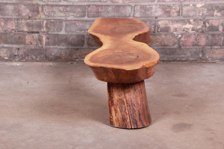 Redwood Rustic Live Edge Low Coffee Table or Occasional Side Table For Sale 4
