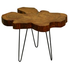 Redwood Tree Live Edge Coffee Table with Hairpin Legs / LECT114