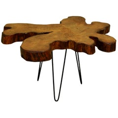 Redwood Tree Live Edge Coffee Table with Hairpin Legs / LECT115