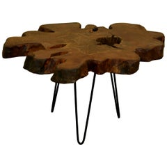 Redwood Tree Live Edge Coffee Table with Hairpin Legs / LECT117