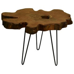 Redwood Tree Live Edge Coffee Table with Hairpin Legs / LECT119