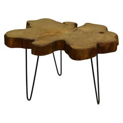 Redwood Tree Live Edge Coffee Table with Hairpin Legs / LECT134