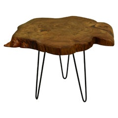 Redwood Tree Live Edge Coffee Table with Hairpin Legs / LECT142