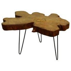 Redwood Tree Live Edge Coffee Table with Hairpin Legs / LECT152