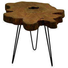 Redwood Tree Live Edge Coffee Table with Hairpin Legs / LECT153