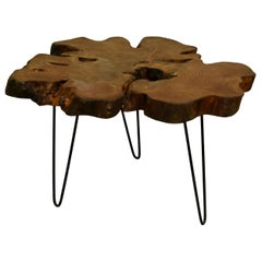 Redwood Tree Live Edge Coffee Table with Hairpin Legs / LECT157