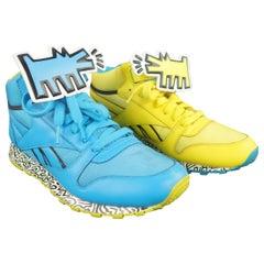 REEBOK X KEITH HARING 10 Aqua & gelber Hund Klettverschluss Turnschuhe Sneakers