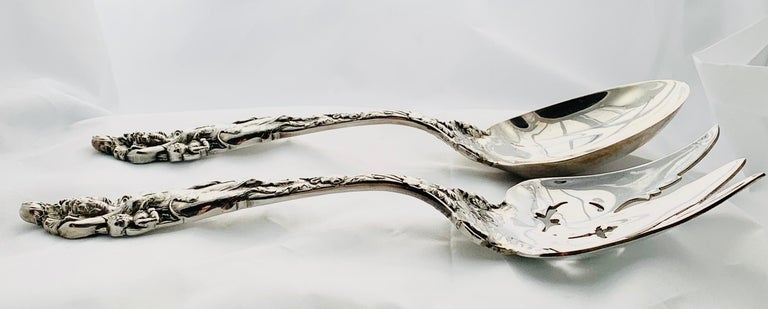 Reed & Barton Love Disarmed Pattern Sterling Silver Salad Fork and Spoon Set For Sale 7