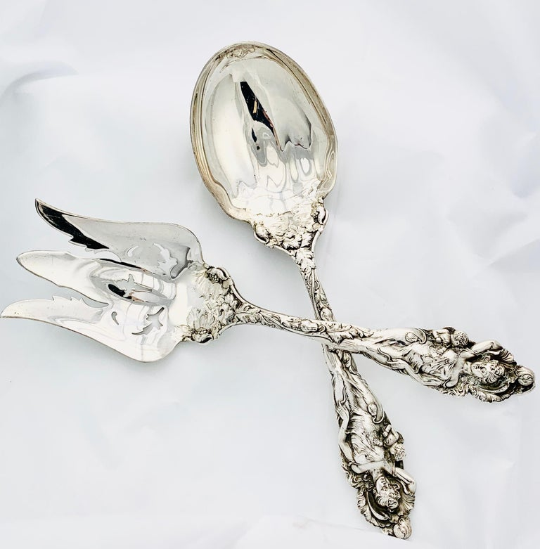 Gorgeous and Rare reed & Barton Sterling Silver Salad Set! This is the Love Disarmed Pattern with a Salad fork and Spoon that each measures 11 inches long. The set weighs 483.9 grams. This is a stunning set in beautiful condition! Gorgeous detail.