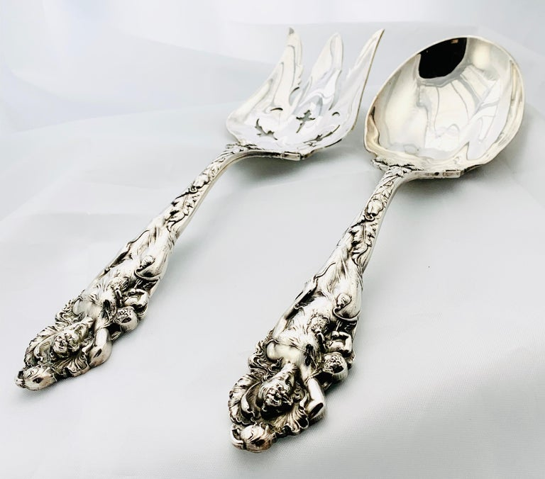 Reed & Barton Love Disarmed Pattern Sterling Silver Salad Fork and Spoon Set In Excellent Condition For Sale In Birmingham, AL