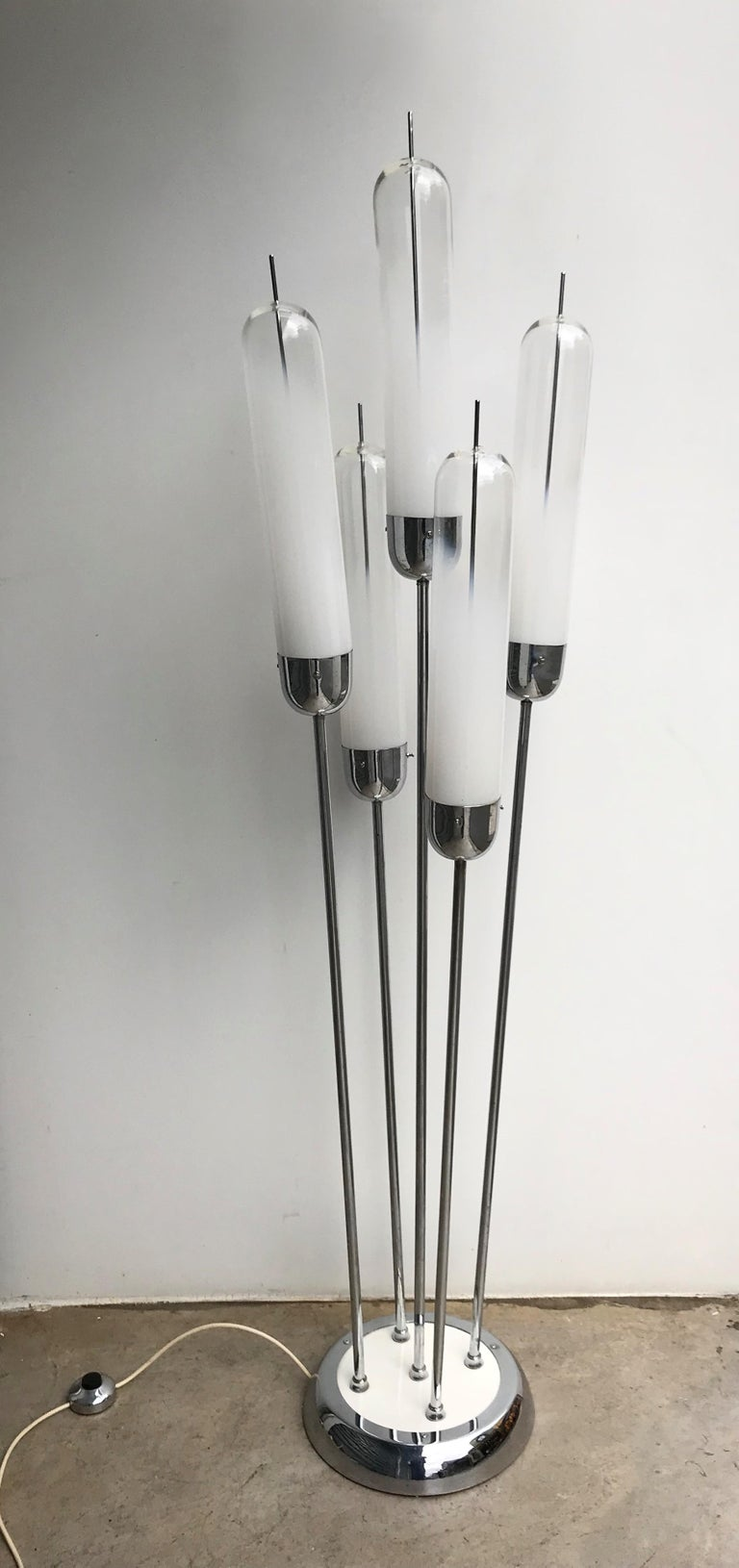 Reed Floor Lamp by Mazzega Murano Glass, Italy, 1970s For Sale 1