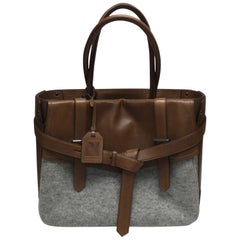Reed Krakoff Brown Leather & Grey Flannel Box Tote
