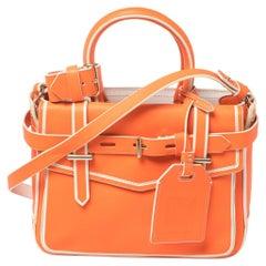 Reed Krakoff Neon Orange/White Leather Micro Boxer Tote