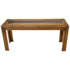 Reed or Rattan Glass Top Mid-Century Modern Console Table