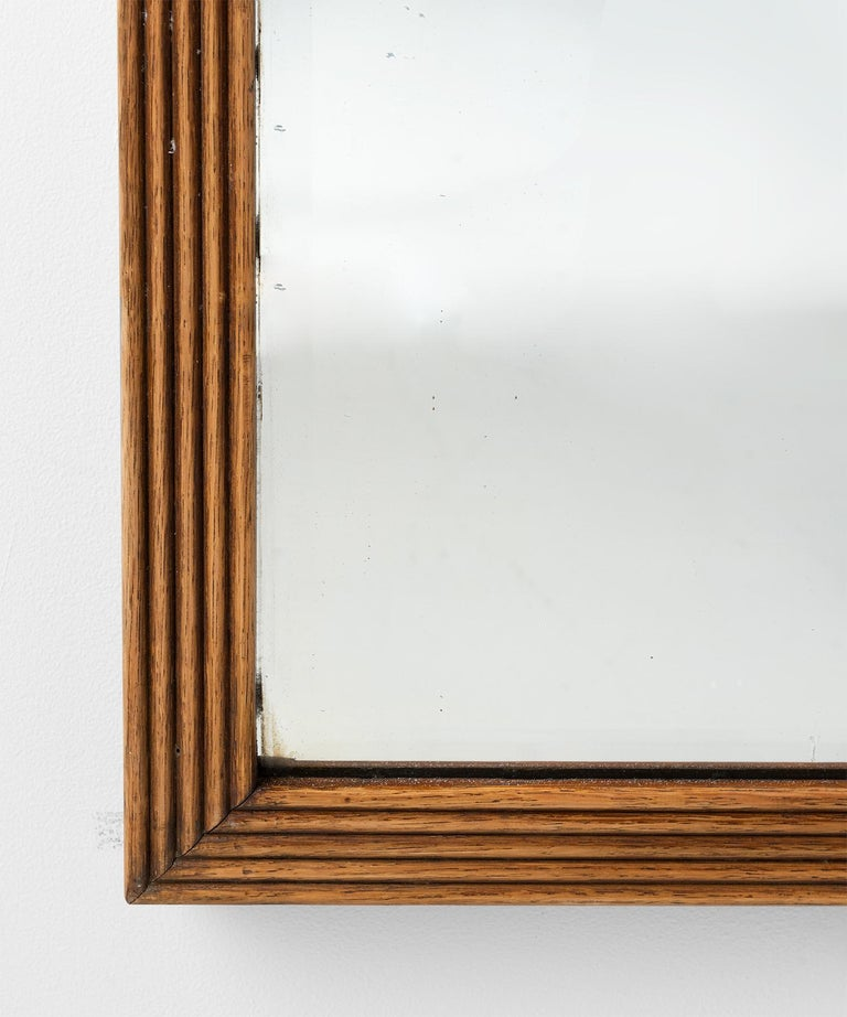 English Reeded Oak Outfitters Mirror For Sale