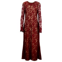 Reem Acra 2019 Burgundy Fall Lace Longsleeve Gown w/ Rhinestone Neck and Shoulde