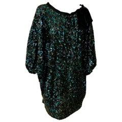 Reem Acra Blue Silk Sequin Overlay w/ Black Grosgrain Ribbon Bow Cocktail Dress
