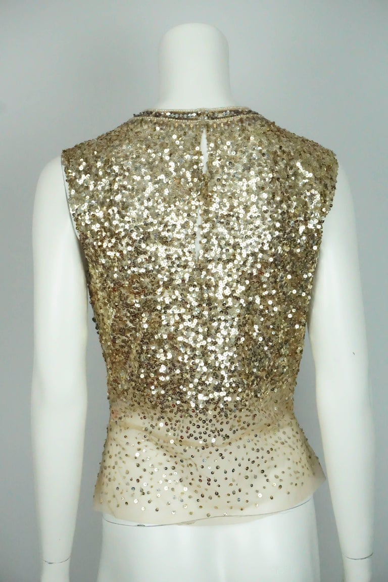 Brown Reem Acra Gold Sequin and Beaded Sleeveless Top   For Sale