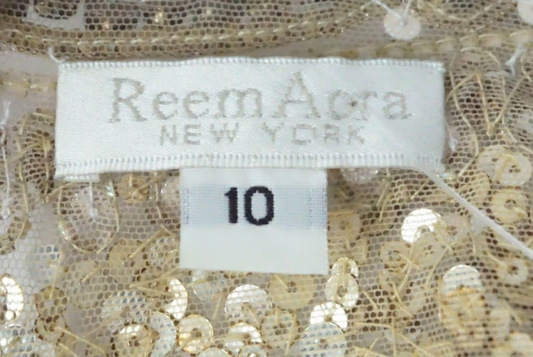 Reem Acra Gold Sequin and Beaded Sleeveless Top   For Sale 1